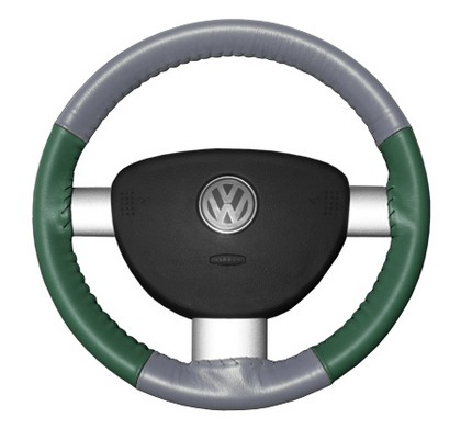 89-97 Probe Wheelskins Steering Wheel Cover - Eurotone (Grey Top / Green Sides)