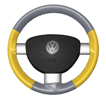 02-08 X-Type Wheelskins Steering Wheel Cover - Eurotone (Grey Top / Yellow Sides)
