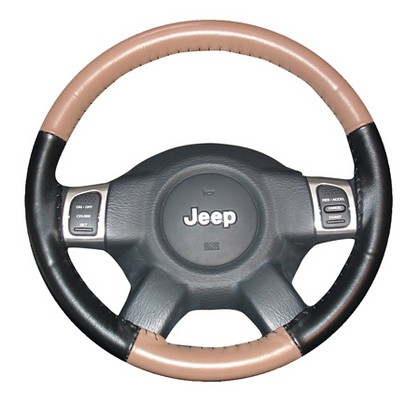 02-08 X-Type Wheelskins Steering Wheel Cover - Eurotone (Oak Top / Black Sides)