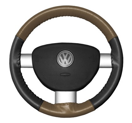98-04 Tracker Wheelskins Steering Wheel Cover - Eurotone (Oak Top / Charcoal Sides)