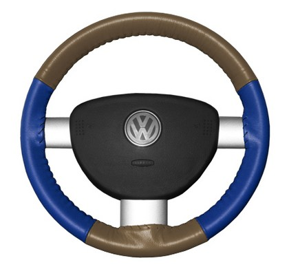 00-06 TT Wheelskins Steering Wheel Cover - Eurotone (Oak Top / Cobalt Sides)