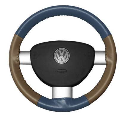 89-97 Probe Wheelskins Steering Wheel Cover - Eurotone (Sea Blue Top / Oak Sides)