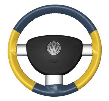 06-08 Fusion Wheelskins Steering Wheel Cover - Eurotone (Sea Blue Top / Yellow Sides)