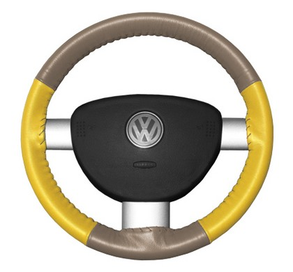 97-98 V90 Wheelskins Steering Wheel Cover - Eurotone (Sand Top / Yellow Sides)