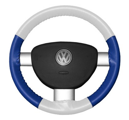02-08 X-Type Wheelskins Steering Wheel Cover - Eurotone (White Top / Cobalt Sides)