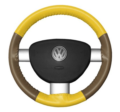 86-94 323 Wheelskins Steering Wheel Cover - Eurotone (Yellow Top / Oak Sides)