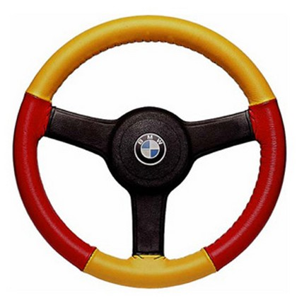 02-10 Frontier Wheelskins Steering Wheel Cover - Eurotone (Yellow Top / Red Sides)