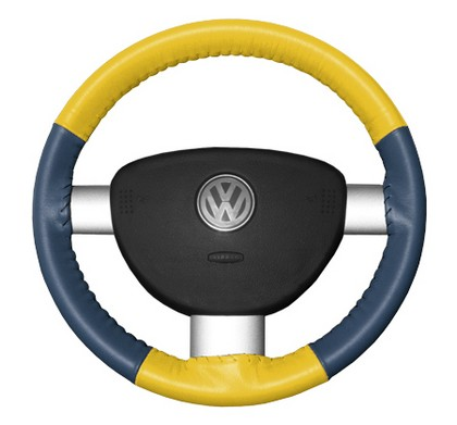 02-08 X-Type Wheelskins Steering Wheel Cover - Eurotone (Yellow Top / Sea Blue Sides)
