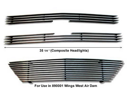 Wings West Aluminum Billet Grille Composite Headlight Set - 3 Piece